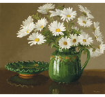 Daisies with Green Glazed Pottery