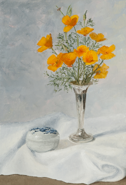 May Poppies on White Cloth