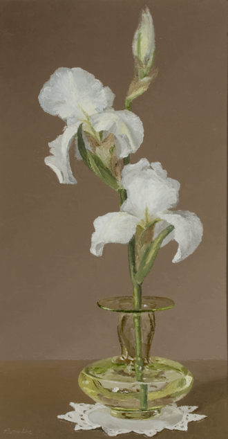 White Iris in Art Glass Vase